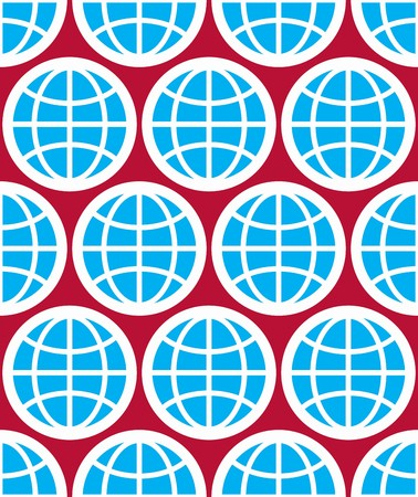 zeměpisný: Globy bezproblémové zázemí, planety koncepční vektorových symbolů. Opakovaná pozadí s modrá země symboly, geografické nápad. Ilustrace