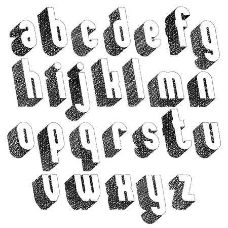 verbs: Retro style 3d font with hand drawn lines texture, lowercase set.