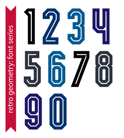 ordinary: Poster classic style acute-angled numbers. Ordinary vector numeration for advertising, graphic, print or web design.