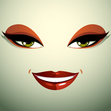 look pleased: Face makeup, lips and eyes of an attractive woman displaying happiness. Illustration