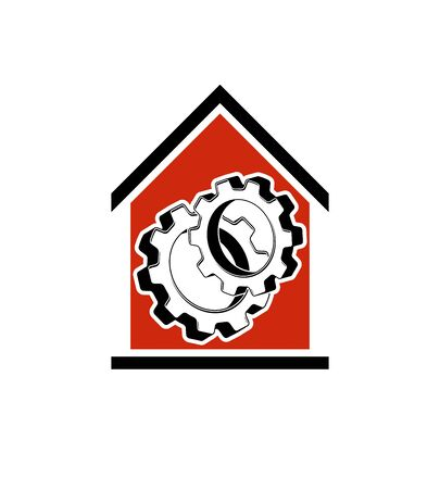 wheel house: Manufactory vector conceptual symbol, house with 3d cog wheel. Industry and production theme element, for use in web design.