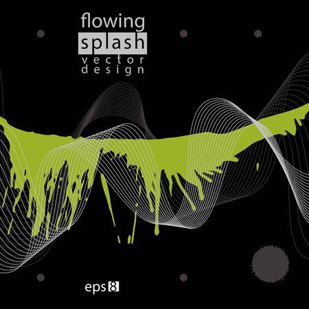 splattered: Splattered web design element, art ink blob, bright paintbrush drawing with flowing lines.