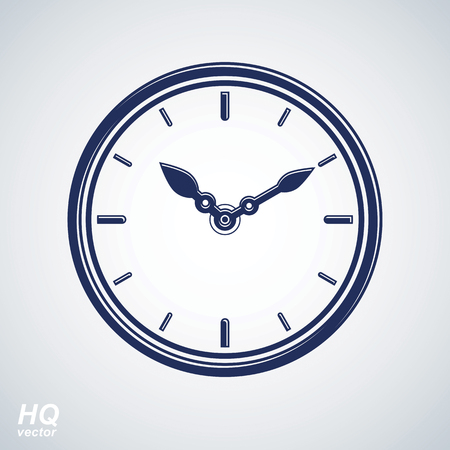 reloj de pared: Vector wall clock with an hour hand on dial. High quality timer illustration isolated on white background. Business planning conceptual icon.
