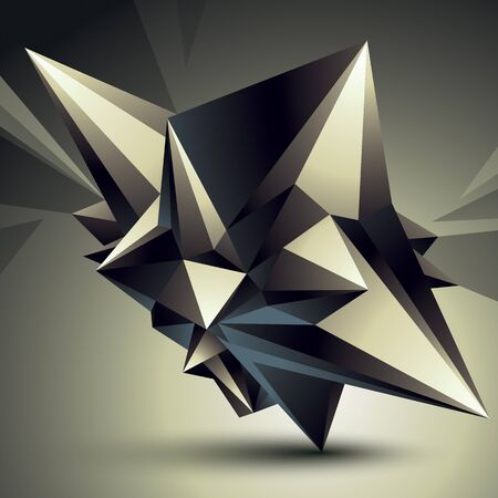 spatial: Spatial vector monochrome digital object isolated, 3d technology figure with geometric elements. Illustration