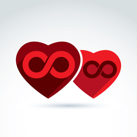 endlessness: Vector infinity icon. Illustration of an eternity symbol placed on a red heart - love forever concept. Two Valentine hearts connected – marriage idea.