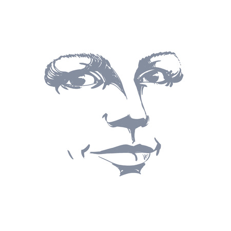 visage: Monochrome silhouette of romantic attractive lady, face features. Hand-drawn vector illustration of woman visage, outline.