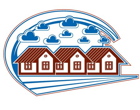 homely: Houses vector detailed illustration, village idea. Graphic country houses image, simple countryside buildings.