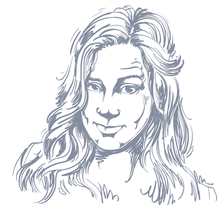 skeptic: Hand-drawn portrait of white-skin skeptic woman, face emotions theme illustration.