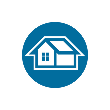 frontage: Real estate icon, vector abstract house. Property developer symbol, conceptual sign, best for use in advertising.