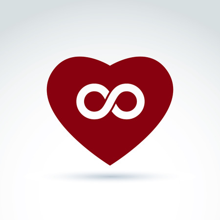 eternal life: Vector infinity icon, eternal life idea.  Illustration of an eternity symbol placed on a red heart - love forever concept.
