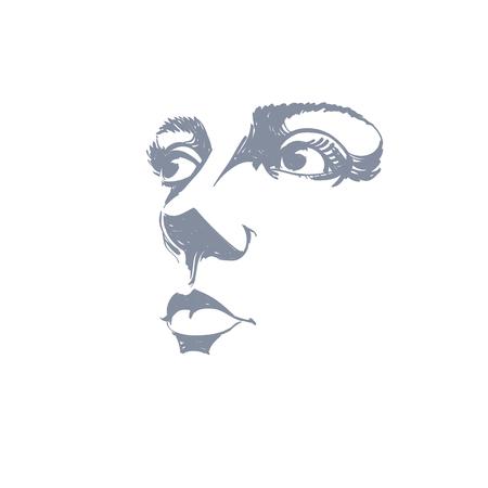 Zwart-wit silhouet van lachende aantrekkelijke dame, gezicht functies. Met de hand getekende vector illustratie van de vrouw gezicht, schets. Kaukasische type. Stock Illustratie