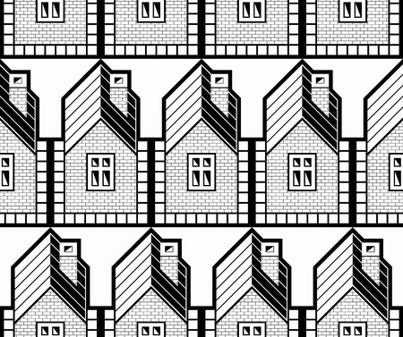 frontage: Black and white abstract vector houses and cottages continuous background, real estate theme.  District idea seamless pattern.