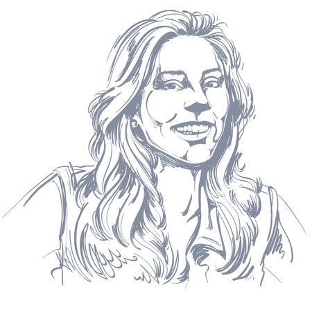 pelo ondulado: Imagen a mano, feliz mujer joven y sonriente Monocromo vector. Ilustraci�n en blanco y negro de una ni�a contenta o alegre con el pelo hermoso largo y ondulado.