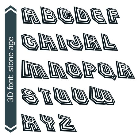 verb: Geometric retro style graphic font in rotation, vector alphabet.