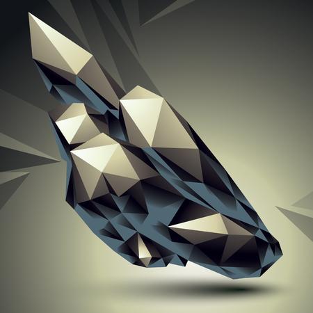 forme geometrique: Résumé asymétrique objet vecteur monochrome construit à partir de différents éléments, forme géométrique complexe. Illustration