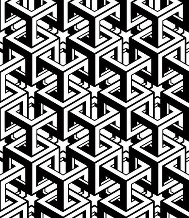 interweave: Monochrome abstract interweave geometric seamless pattern. Illustration