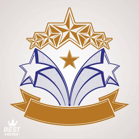 Vector detailed luxury symbol. Aristocratic heraldry emblem with five pentagonal stars and wavy ribbon. Stylized brand icon, award concept graphic design element. Illustration