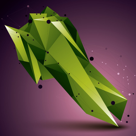complicated: 3D vector abstract design object, green polygonal complicated figure with lines mesh.