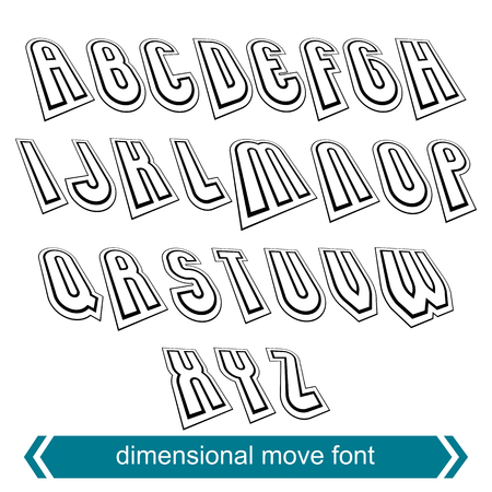 verb: Dimensional move font, vector line retro style geometric font.