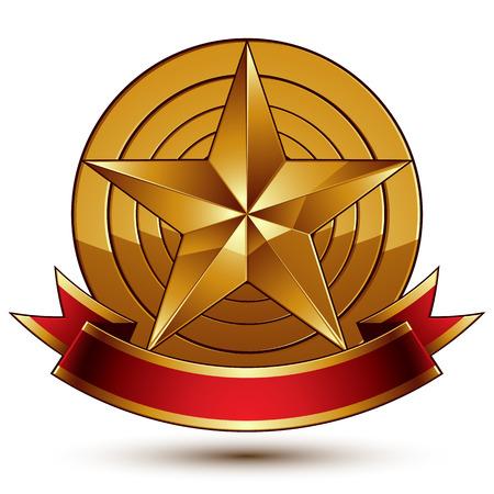 Heraldic golden symbol with stylized pentagonal star  Illustration