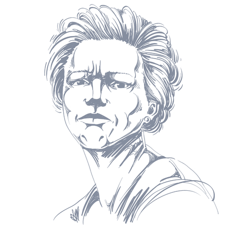 rigorous: Vector drawing of angry woman with stylish haircut. Black and white portrait of attractive lady expressing doubt, disbeliever.