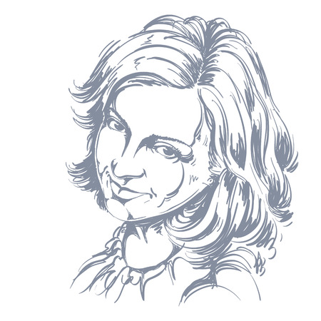 pleased: Hand-drawn vector illustration of beautiful happy and pleased woman. Monochrome image, positive expressions on face of young lady.