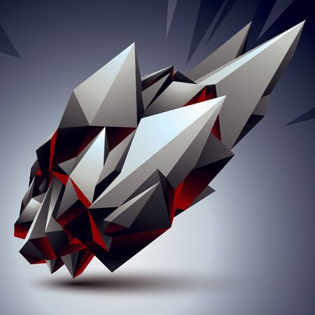 complicated: 3D vector abstract design object, polygonal complicated figure. Grayscale deformed shape, render.