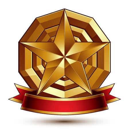pentagonal: Heraldic golden symbol with stylized pentagonal star  Illustration