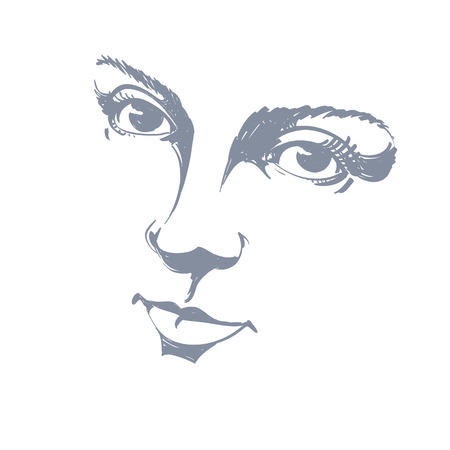 visage: Black and white illustration of lady face, delicate visage features. Eyes and lips of a woman expressing positive emotions. Portrait of delicate melancholic peaceful girl.