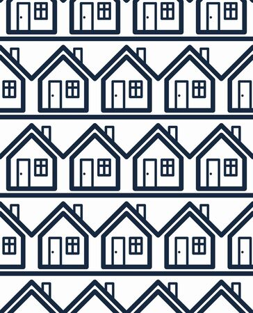 and real estate: Simple houses continuous vector background.