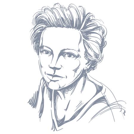 Met de hand getekende vector illustratie van mooie zelfverzekerde vrouw. Zwart-wit beeld, vreedzame uitdrukking op het gezicht van jonge dame. Stock Illustratie