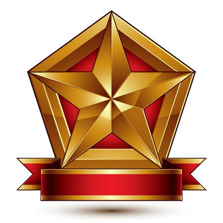 blazon: 3d golden heraldic blazon with glossy pentagonal star