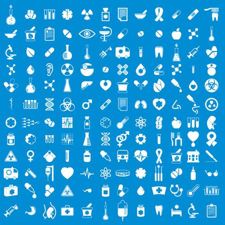 recetas medicas: Iconos médicos, conjunto del vector de 144 signos médicos y medicinas.