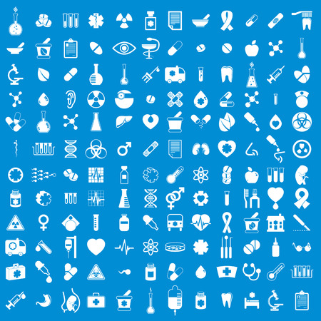 pill prescription: Medical icons set, vector set of 144 medical and medicine signs. Illustration