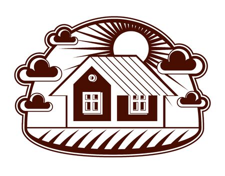 country house: House vector detailed illustration, village idea. Graphic country house image, simple countryside building. Illustration