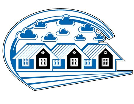 locality: Houses vector detailed illustration, village idea. Graphic country houses image, simple countryside buildings.