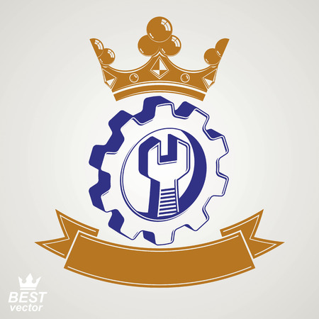 cog wheel: 3d manufacturing award idea illustration. Dimensional vector spanner placed in an industry cog wheel. Graphic reparation tool with imperial crown and ribbon.
