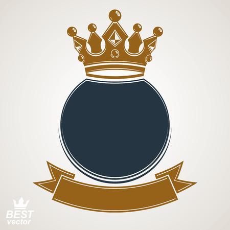 corona real: Anillo del vector con la corona imperial 3d y cinta festiva, capa de lujo de las armas. Símbolo heráldico, mejor para el diseño gráfico y web.