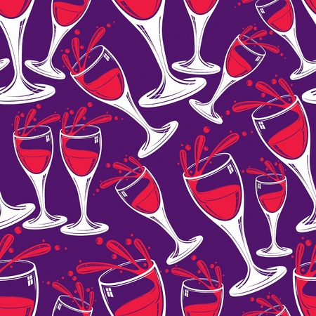 glass half full: Sophisticated wine goblets continuous vector backdrop, stylish alcohol theme pattern. Classic wineglasses with splatters, romantic rendezvous idea.