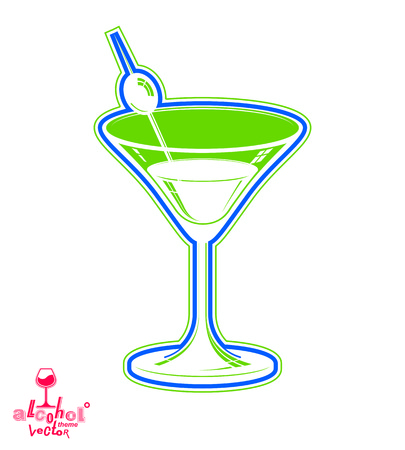 copa martini: Realista copa de martini 3d con la baya de oliva, tema bebidas ilustraci�n. Estilizada objeto art�stico sal�n, relajaci�n y fiesta - fiesta.