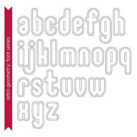 verb: Doble delicados personajes l�nea retro establecidos, luz vector letras min�sculas con las rayas aisladas sobre fondo blanco. Vectores