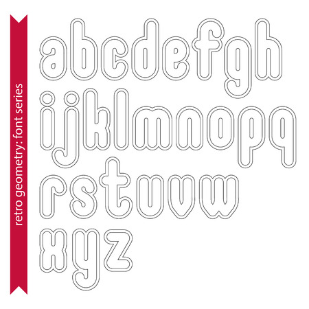 verb: Double delicate line retro characters set, vector light lowercase letters with stripes isolated on white background.