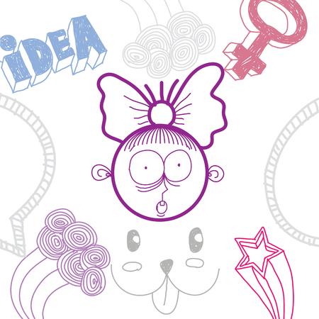 temperamento: Vector colorful illustration of surprised cartoon girl