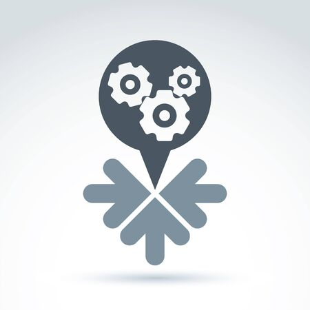gears and cogs: Business and cooperation icon with gears cogs and arrows, vector conceptual unusual symbol for your design. Illustration