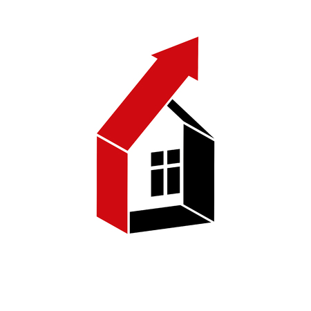 real estate industry: Growth trend of real estate industry. Simple house vector icon with an arrow showing up. Illustration