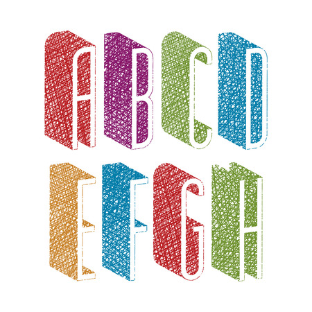 verbs: Retro style 3d thin tall condensed font with hand drawn lines texture, letters a b c d e f g h. Illustration