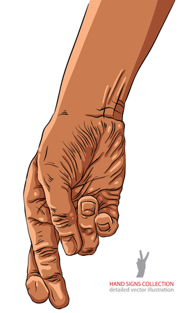 cheater: Cheater hand with crossed fingers, African ethnicity, detailed vector illustration.