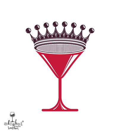 copa martini: Martini glass with royal crown – stylized goblet. Queen of the evening conceptual illustration, celebration idea.