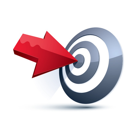 Three-dimensional vector symbol with an arrow directed into the target. Achieve goal business conceptual 3d icon. Vectores