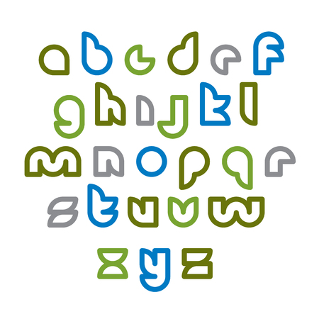 verb: Clear unusual rounded typescript, colorful light green lowercase letters isolated on white background.